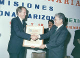Photograph/color image of Arizona Governor Bruce Babbitt at a meeting of the Arizona-Sonora...