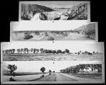 Photograph/lantern slide/collage of Roosevelt Dam, Irrigation, desert and ranches in Arizona.
