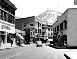 Photograph of Bisbee (Ariz.) streets with a Safeway store on the left