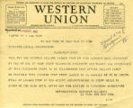 Telegram to Lowell Observatory asking for a statement about the discovery of the new planet