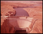 Glen Cayon Dam and Lake Powell, Arizona. Completed in 1964, this 580 ft. high concrete arch dam is...