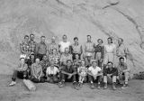 Group photo of 18 passengers and 6 boatmen from 1951 San Juan River trip: Mary L., Al, Joe, Sven,...