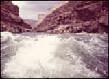 Eiseman expedition, looking upstream Sheerwall, mile 14.5, Colorado River, Grand Canyon. Circa...