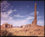 Totem Pole - Monument Valley, Ariz. This great totem pole of red sanstone, almost 1000 feet high,...