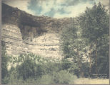 Hand-tinted photograph of Montezuma Castle cliff dwelling