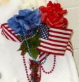 American Flag and Flower Bouquet