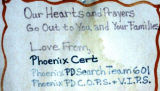 Sign from Phoenix Cert, Phoenix Police Department