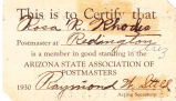 Arizona State Association of Postmasters Membership Card