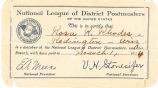National League of Postmasters Membership Card