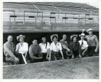 Scottsdale Stadium - Scottsdale Baseball Club members and ladies in dugout 1950s.