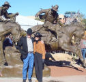 Mayor Mary Manross Greets Sculptor Herb Mignery At Hashknife Statue February 2008.