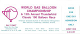 1986 World Gas and Balloon Championship Thunderbird Classic Balloon Race ticket